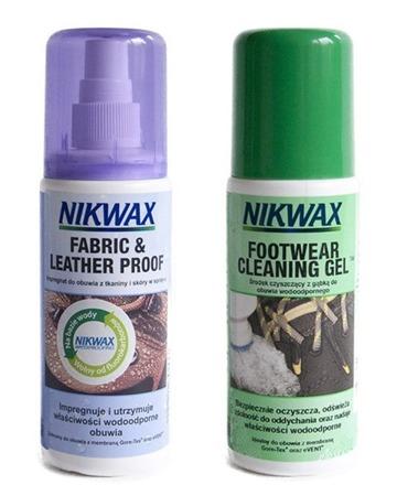 Zestaw Nikwax Footwear Cleaning Gel & Fabric & Leather Proof, 2 x 125 ml